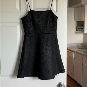 Black Snake Skin Fit & Flair Dress